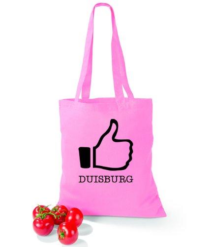 Artdiktat Baumwolltasche I like Duisburg Classic Pink