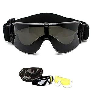 Lunettes de Airsoft Paintball CS – Goggles de X800 Militaire Tactique Armée  Ballistic Goggles Lunettes de Cyclisme Moto Ski Sécurité Sports Protection  + 3 ... f766deb78387