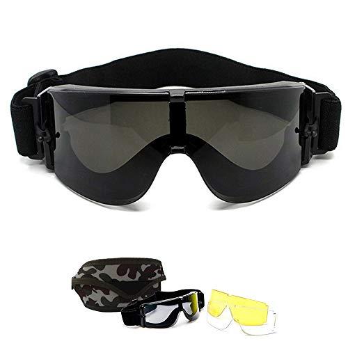 Lunettes de Airsoft Paintball CS - Goggles de X800 Militaire Tactique Armée Ballistic Goggles Lunettes de Cyclisme Moto Ski Sécurité Sports Protection + 3 lentilles + Étui de transport camo