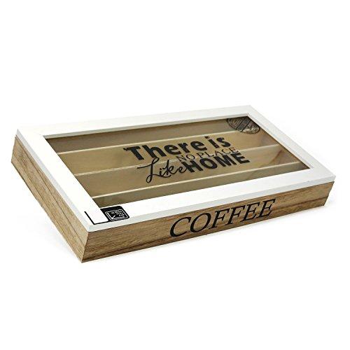 com-four® Aufbewahrungsbox für Kaffeekapseln, braune Box aus Holz mit weißem Deckel, 4 Fächern und Sichtfenster, 34,5 x 17,5 x 4,8 cm (01 Stück - 34.5x17.5x4.8cm - Braun)