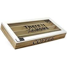 com-four® Caja de Almacenamiento de cápsulas de café, Caja de Madera marrón