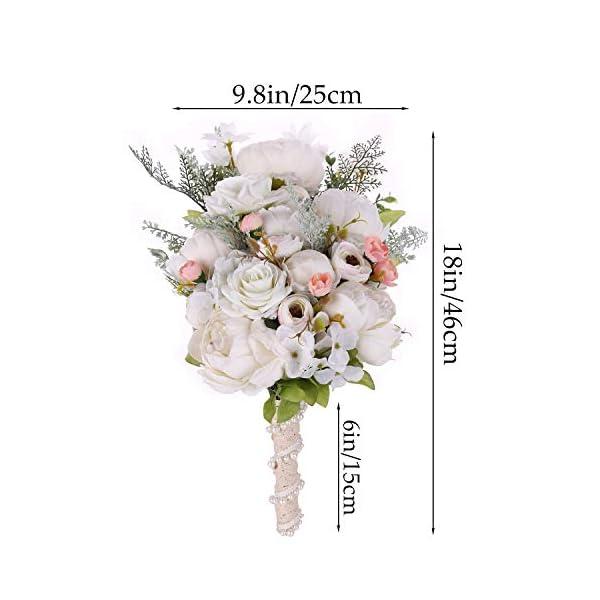 U'Artlines Ramo de Novia romántico Hecho a Mano con Flores Falsas peonías Rosas para decoración de Bodas, Fiestas y el hogar