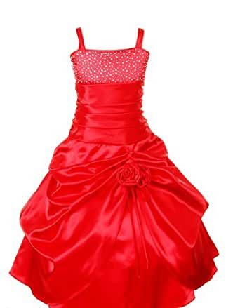 Pink Wings Girls' Ball Gown (PWDORI_Red Satin_1-2 Years)