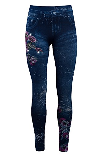 Bongual Thermo Leggings in Jeansoptik, Winter Fleece-Leggings,Warme Frottee-Leggings ,Treggings mit Muster 38-40-42 (One Size, Blumen Lila) (Leggings Fleece)