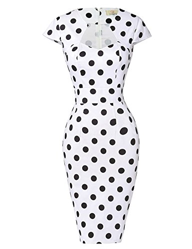 Vestidos Blancos De lunares Negros Lápiz Bodycon Manga Corta Pin-up S 1#