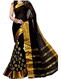 Premium Choice Women's Cotton Silk Printed Saree With Blouse Piece - GoliVariation_Black