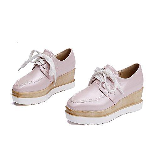 AllhqFashion Damen Schnüren Quadratisch Schließen Zehe Mittler Absatz Rein Pumps Schuhe Pink