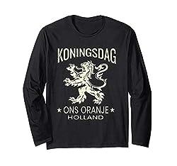 Königstag-orange T-Shirt Entwurf - niederländischer Löwe Langarmshirt