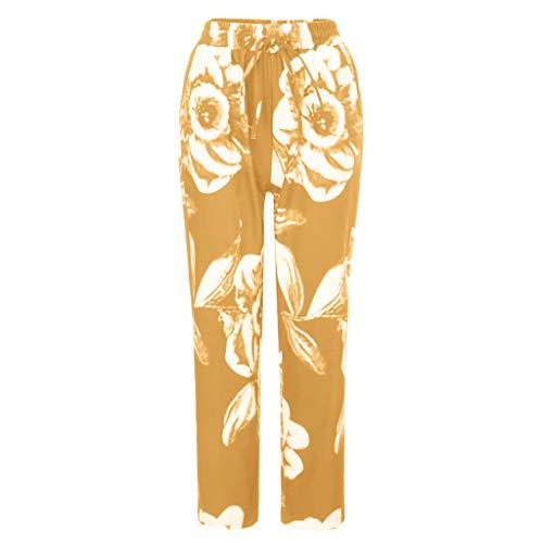 MOTOCO Womens Large Size Printed Hosen Freizeithosen Lose Gummiband Tasche 3/4 Hosen Hosen(4XL(48),Gelb)