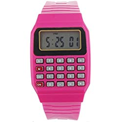 Children Watch,Clode® Unsex Silicone Multi-Purpose Date Time Electronic Wrist Calculator Watch (Red)