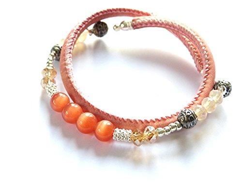 Vom Chiemsee-Atelier Patricia: nappa donne wrap braccialetto, stretch Bracciale Swarovski Elements Bohemian tibetano perline limitata.-Rosa Peach Echo ARANCIONE Albicocca