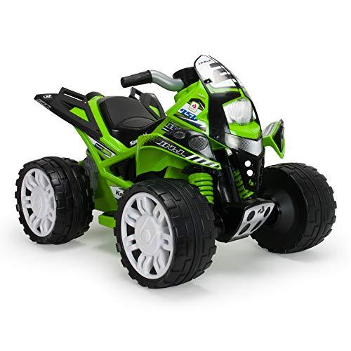 INJUSA Quad elektrisch Kawasaki 12V für Kinder ab 3 Jahren mit Breiten Gummirädern