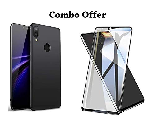 Designerz Hub 5D Tempered Glass with Curved Edges and 9H Hardness – Full Glue Edge-Edge Screen Protection (Black) & Back Cover for Asus Zenfone Max Pro M2