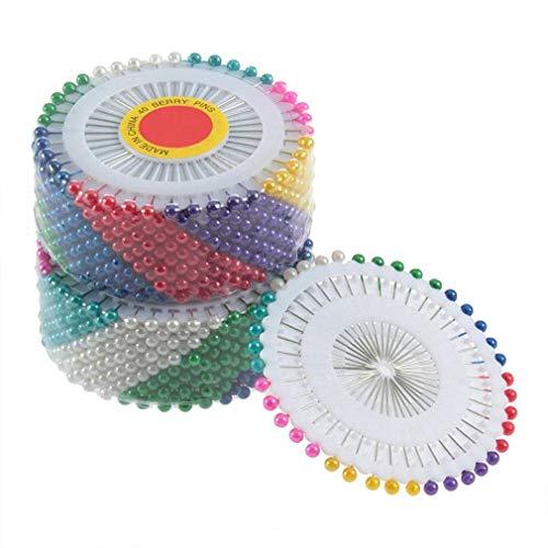 AllBeauty Nadeln Multicolor rund Kopf Künstliche Nadel, Pearl Emaille Nadel Schnitten Nadel