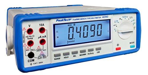 Peak Tech True RMS Multímetro Digital de mesa. 22000Digits (41/2dígitos) con interfaz USB como,-Registrador de datos de Red o con pilas, 1pieza, P 4090