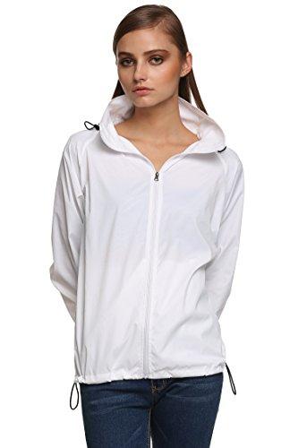 Zeagoo Damen Lightweight Softhelljacke Windjacke Outdoor Regenjacke Übergangsjacke Hoodie Kapuzenjacke Jacket Atmungsaktiv (EU 44(Herstellergröße:XXL), Weiß) Damen Lightweight Hoodie