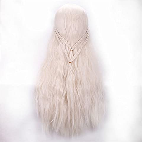 YX 70CM 28 Light Blonde Rose Net Wigs Braid Perruque Anime Cosplay Wigs Synthetic Wig Party Wig by