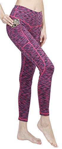 LifeSky Damen Yogahose Workout Leggings mit Taschen, weiche Hose - - Mittel Purple Flare-hose