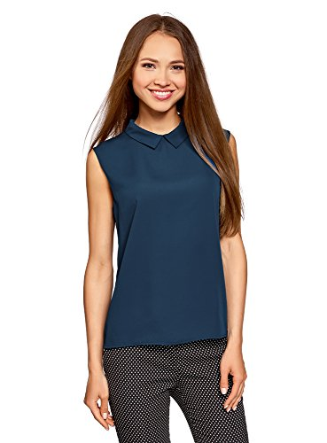 oodji Ultra Damen Ärmellose Bluse Basic mit Kragen, Blau, DE 42/EU 44/XL (Größe 16 Kurze Damen Jeans)