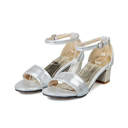 VogueZone009 Donna Puro Punta Aperta Finta Pelle Scamosciata Fibbia Heeled-Sandals Argento