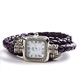 USS Unique Women Ladies Knitted Band Bracelet Style Quartz Wrist Watch Purple