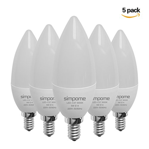 Simpome LED E14 C37 5W LED Leuchtmittel(5er-Pack), Entspricht 40 W, Warmweiß 3000K LED Glühbirne , Nicht Dimmbar, 400 Lumen, 100–240 V Abstrahlwinkel 180°