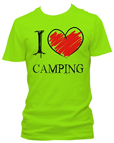 NEON Herren T-Shirt I Love Camping Fun_neongrün_L
