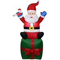 Lanzou Christmas Inflatable Santa Claus LED Light Yard Garden Lawn Light for Indoor Outdoor Home Decoration