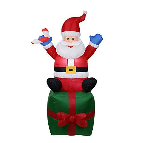 Panonw Aufblasbarer Weihnachtsmann mit Geschenk-Box, 1,8 m lang, mit LED-Licht, aufblasbarer Weihnachtsmann, niedlich, lustig, Weihnachten, Urlaub, - Display Und Kostüm Weihnachten