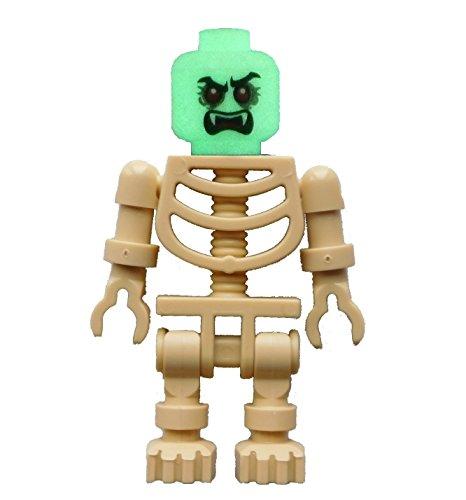 Lego Skelett beige + weißer Kopf rote Augen tan skeleton white head