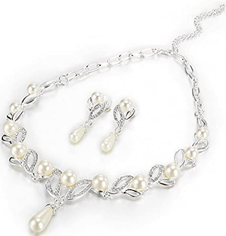 Gleaming Silver Leaf and Pearl Rhinestone Necklace and Earring Set Costume Fashion Jewellery