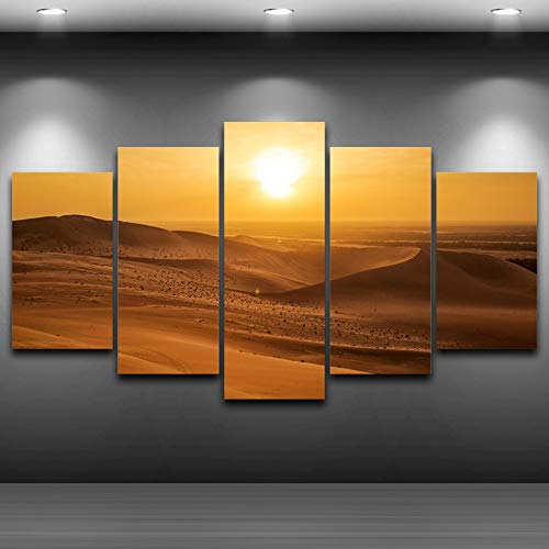 RMRM Holzrahmen Leinwand HD Print Malerei Modulare Wandkunst Bilder 5 Panel Wüste Sonnenaufgang Landschaft Rahmen Poster Moderne Wohnkultur Wohnzimmer 30x40cm 30x60cm 30x80cm - Sonnenaufgang In Der Wüste Fertig