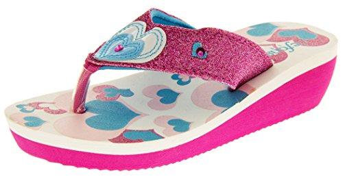 De Fonseca Mädchen Sommer-flip-flops Sandalen Strand-schuhe Rosa Und Blau Glitzer Herzen EU 29 (Sandles Gladiator Mädchen)