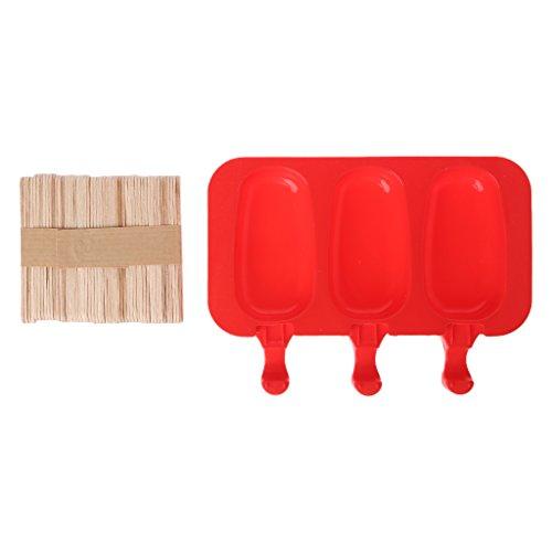 yunso 3Cell Silikon Frozen Ice Pop Formen Eis Maker Jelly DIY mit 20Sticks aus Holz m Oval (Oval Maker Ice Cream)