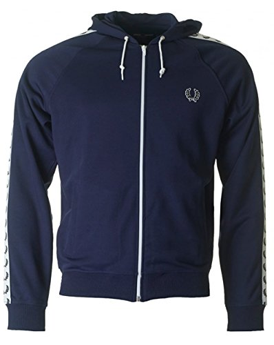 Fred Perry Sports Hooded Taped Track Top Medium CARBON BLUE