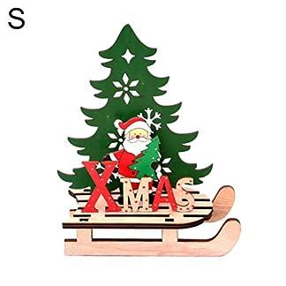 Kuizhiren1 – Adornos de Navidad para decoración de Navidad, diseño de Papá Noel con alce de madera, adorno de empalme de muñeco de nieve para el hogar, escritorio, decoración de Navidad, S Santa Claus