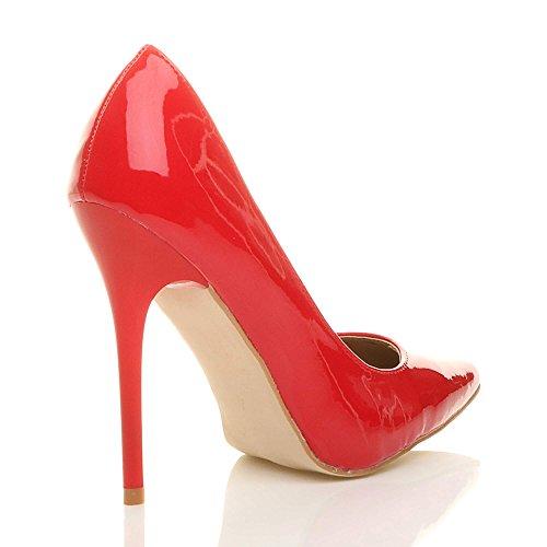 Donna tacco alto lavoro festa elegante scarpe de moda décolleté a punta taglia VERNICE ROSSA