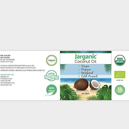 Kokosöl Bio, Kaltgepresst, Nicht-Raffiniertes - Extra Nativ Kokosöl für Haare, Haut und zum Kochen - Gentechnikfrei, Glutenfrei, Natürliches Kokosnussöl Bio 500ml - Jarganic -