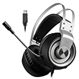 ZYJ Gaming PS4 Auricolare, 3.5Mm Stereo Audio del PC Gaming Headset, Over-Orecchio di Gioco delle Cuffie con Microfono A Cancellazione di Rumore Microfono per New Xbox Uno / PS4 / PC/Laptop,USB