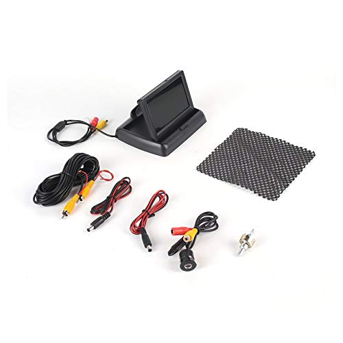 Peanutaod Kit de asistencia para la Vista trasera Con pantalla plegable + cámara de visión trasera Redonda Sistema de respaldo de estacionamiento de Gran Angular para vehículos Wateproof