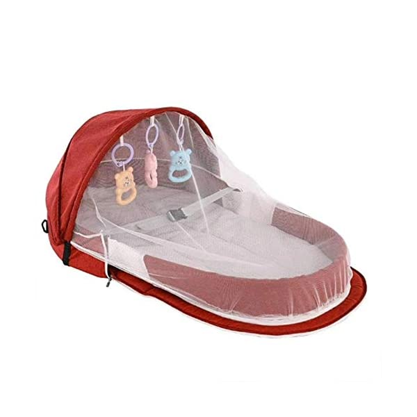 Further 3-in-1 Multifunctional Foldable Baby Cot Changing Bags Travel Station Nappy Changing Nappy Pants for the Home Outdoor - 3 Colours red Further Foldable and multifunctional: it can be used not only as a baby cot but also as a diaper bag. The folding design makes it a backpack in seconds. Large internal storage space frees hands while travelling. Practical to use: it comes with a bell to allow your baby to play. The extra interior space makes it a replacement for changing bags. This perfect practical solution allows mothers to travel with their baby easier and more relaxing. WATERPROOF & EASY TO CLEAN: The cot mat is waterproof and all the removable liner is machine washable. The inclusion of a mosquito net can effectively interfere with all mosquito dust and can be used all year round. 3