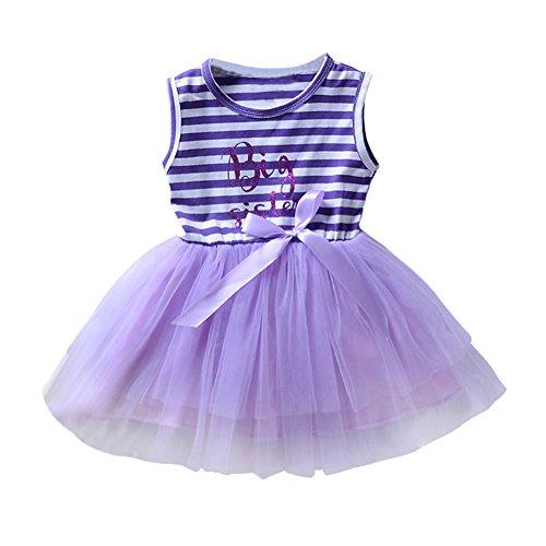 Klein Mädchen Kleid Große Schwester Gedruckt Streifen Tüll Tutu Kleid, ärmellos, Lila Farbe (Kind Lila Tutu)