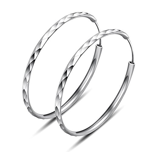 Hanie Silber Creolen Ohrringe für Damen 925 Sterling Silber Durchmesser 40mm Groß Kreole Hängend Rund Ring Nickelfrei und Allergiefrei Ohrschmuck für Frau Mädchen Passt Alltag Party