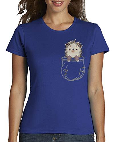 latostadora - Camiseta Erizo para Mujer Azul Royal S