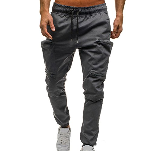 UJUNAOR Mann Jogger Cargo Herren Chino Jeans Hose Slim Fit Herren Stretch Freizeithose Militär Hose Army(Grau,EU 48/CN XL) - Militär-thermo-unterwäsche