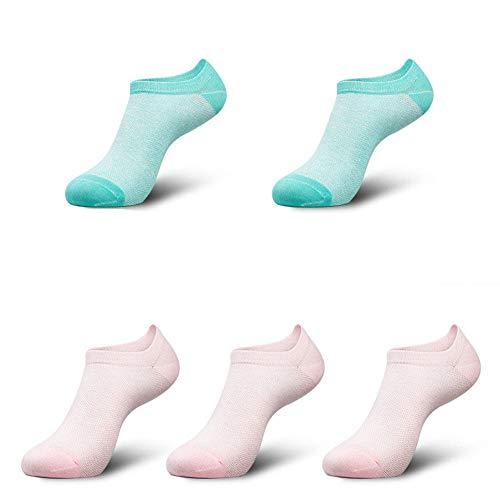 zhaoaiqin 5 Paar, Baumwolle, Damen Bootssocken, Socken, Sommer Dünnschliff, Baumwolle Feuchtigkeitstransport, Puder 3 Grün 2