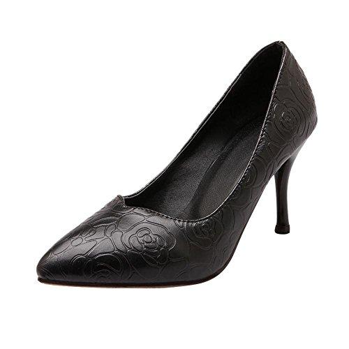 Mee Shoes Damen modern elegant Kitten-Heel spitz Stoffdruck Geschlossen Pumps Schwarz