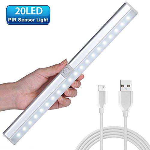 20 LED Schrankbeleuchtung, LOFTer Hochwertig LED Schrankleuchte mit Bewegungsmelder, 3 Licht Modus mit Batterie mit USB Wiederaufladbar für Schrank Treppe Küche etc.
