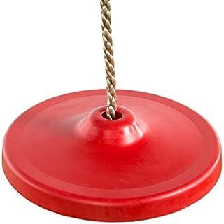 Ultrakidz 331900000033 Gummi-Schaukelsitz, Schaukelteller rund, Tellerschaukel für Kinder mit Metallkern für noch mehr Schwung, inklusive Seil, höhenverstellbar, Rot