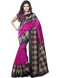 Riti Riwaz Womens Art Silk Printed Multicolour Saree With Blouse . -IMP6425